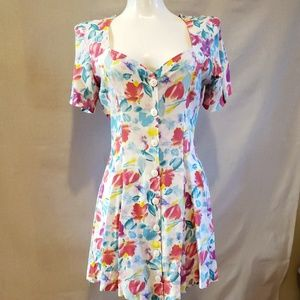 Awesome 80's Flowered dress sweetheart neck NWOT S